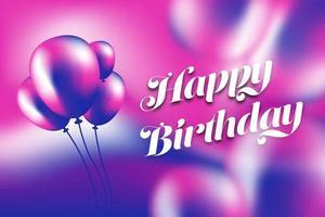 Buon compleanno palloncino viola e rosa e poster sfumato vettore