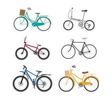 Insieme di progettazione piana della bicicletta isolato su fondo bianco
