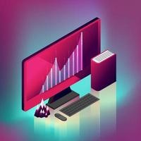 Desktop computer moderno grafico fluttuante vettore