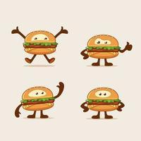 Mascotte dei cartoni animati di hamburger vettore