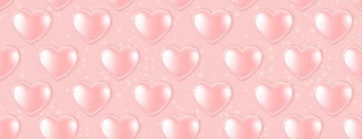 Modello senza saldatura con palloncini cuore rosa vettore