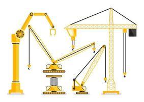 Set di gru di costruzione macchina gialla nella progettazione piana vettore