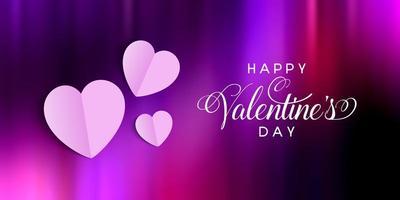 Banner di San Valentino con cuori piegati