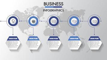 Cronologia di infographics di affari con 6 passaggi di cerchio ed esagono vettore