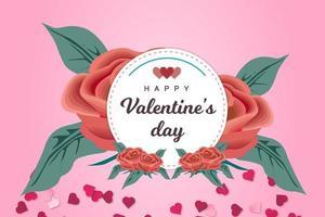 Modello di San Valentino di Rose Flower e Hearts vettore
