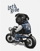 pug nero sul cartone animato moto vettore