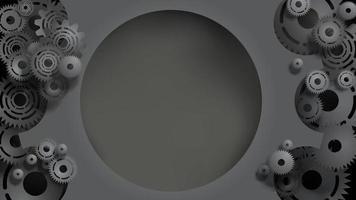 Modello di ingranaggi neri e ingranaggi con spazio di copia