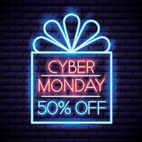 Insegna al neon del Cyber Monday vettore