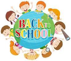Torna al tema della scuola con i bambini di tutto il mondo vettore