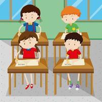 Studenti che scrivono e imparano a scuola vettore