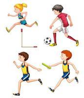 Set di bambini che giocano a diversi sport vettore