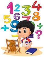 Ragazzo che fa per la matematica con l'abbaco vettore