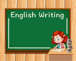 Ragazza che scrive in classe inglese vettore