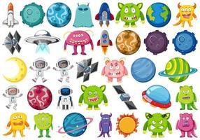 Insieme di alieni e oggetti spaziali