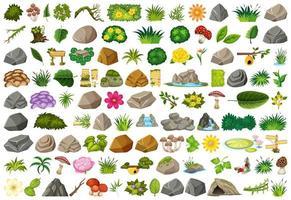 Insieme di giardinaggio isolato e oggetti all'aperto