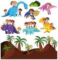 Bambini che guidano dinosauro e sfondo preistorico
