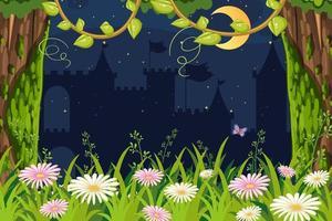 Siluetta del castello di notte con la foresta