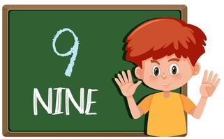 Un ragazzo con un gesto di nove dita vettore
