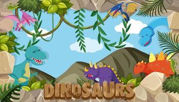 Una cornice di dinosauri vettore