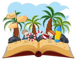 Bambini che giocano su un libro pop-up sulla spiaggia