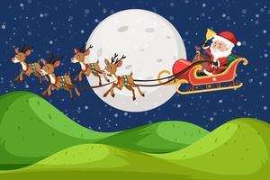 Sfondo scena di natura con Babbo Natale di notte vettore