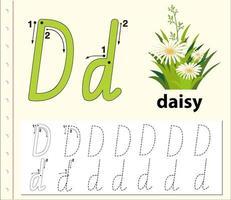 Fogli di lavoro di alfabeto di tracciamento della lettera D. vettore