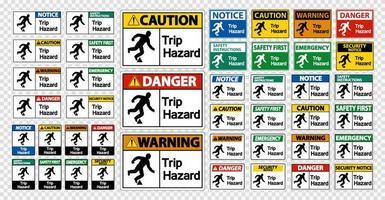 Impostare il segno di pericolo viaggio su sfondo trasparente vettore