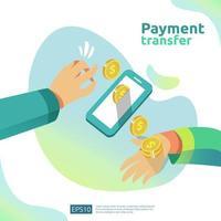 Concetto di trasferimento di pagamento vettore