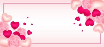 San Valentino con cornice, cuori e rose vettore