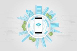 concetto di città intelligente sfondo di connessione ad alta tecnologia vettore