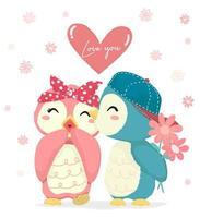 Ragazzo del pinguino con la ragazza baciante del pinguino del fiore vettore