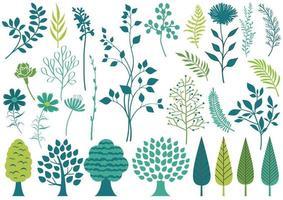 Insieme di elementi botanici isolato su uno sfondo bianco.