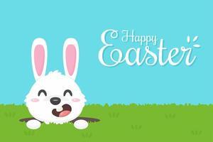 Auguri di buona Pasqua con coniglio cartone animato vettore