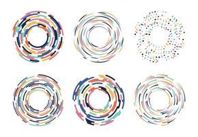 Raccolta di elementi esotici colorati cerchio astratto vettore