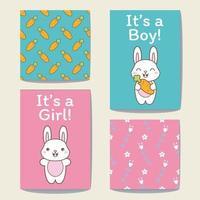 Set di carte modello Coniglio per ragazzo o È una ragazza. vettore