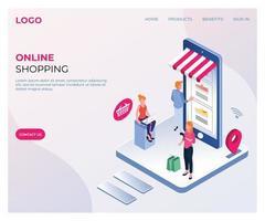 pagina di destinazione isometrica per lo shopping online