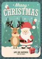 Cartolina di Natale con Babbo Natale e renne e scatole regalo vettore
