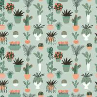 Modello senza cuciture con la raccolta di piante d'appartamento al coperto disegnate a mano. Raccolta di piante in vaso. Illustrazione vettoriale piatto colorato
