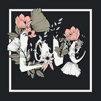 Design tipografico di poster di fiori, testo e motivi floreali combinati