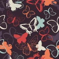 Modello senza cuciture con farfalle colorate disegnate a mano vettore
