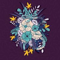 Giungla floreale con motivo a serpenti senza soluzione di continuità