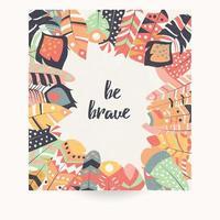 Cartolina con citazione ispiratrice e piume bohémien