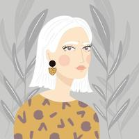 Ritratto di una ragazza con i capelli bianchi e maglione fantasia