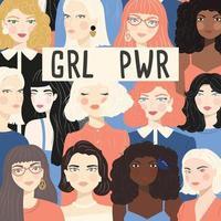 Gruppo di ritratti di donne diverse
