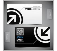 Freccia in bianco e nero nel modello di biglietto da visita del cerchio