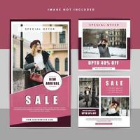 set di banner sociale geometrico di vendita di abbigliamento