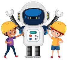 Ragazzi che giocano con il robot vettore