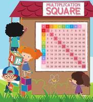 Quadrato di moltiplicazione matematica con studenti
