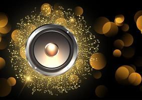 musica di sottofondo con altoparlante e note musicali
