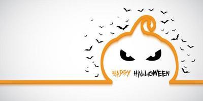 Banner di Halloween semplice con contorno di zucca vettore
